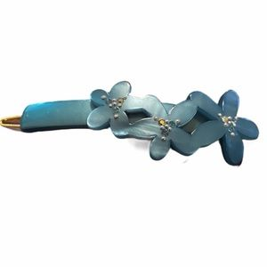 Vintage French Floral Barrette, Pearly Blue